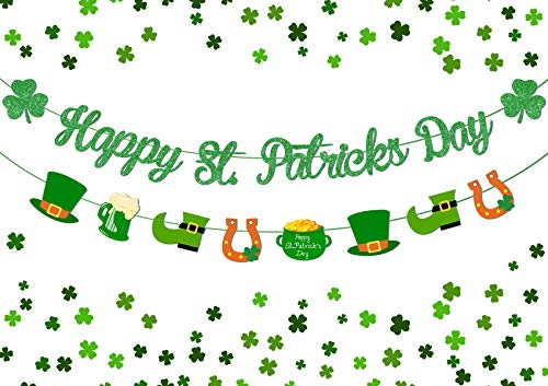 St Patrick Day Banner Garland Decoration Irish St Patrick's Day Lucky Shamrock Clover Happy St Patricks Day Banner Sign Saint Patrick's Day Birthday Decoration for Home Indoor Outdoor