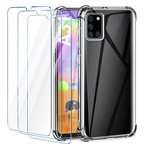AROYI Funda Samsung Galaxy A31 + [3 Pack] Cristal Templado, [Reforzar la versión con Cuatro Esquinas] Ultra Flexible Transparente TPU Silicona Carcasa Protector Case para Samsung Galaxy A31