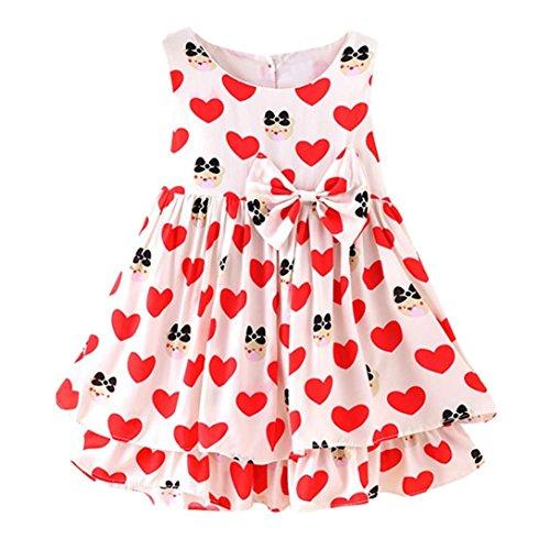 URSING Kleinkind Mädchen Sommer Prinzessin Kleid mit Bowknot Baby Party Hochzeit ärmellose Kleider süße Strandkleid Sommerkleid Kinderkleider Freizeitkleider 1-4 Jahre (100cm, Rot/Heart Print)
