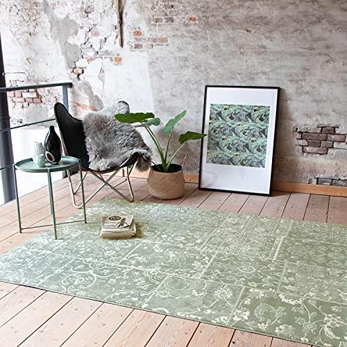 FRAAI Teppich Patchwork - Wonder Grun - 160x220cm - Kurzflor - Antik, Vintage, Patchwork - Klassik, Orientalisch - Wohnzimmer, Esszimmer, Schlafzimmer