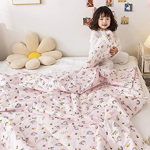 AZSOGOOD Edredón de Verano de algodón para niños, acondicionamiento de Aire Acondicionado 100% algodón Ropa de Cama, edredón Delgado y Doble y Doble Colcha de Verano para niños-K_200.230cm * 1