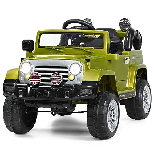 Costzon Ride On Car, 12V 2WD Powered Truck, Manual/ Parental Remote Control Modes Truck Vehicle with Headlights, MP3 Port, Music, Horn for Kids (Green)