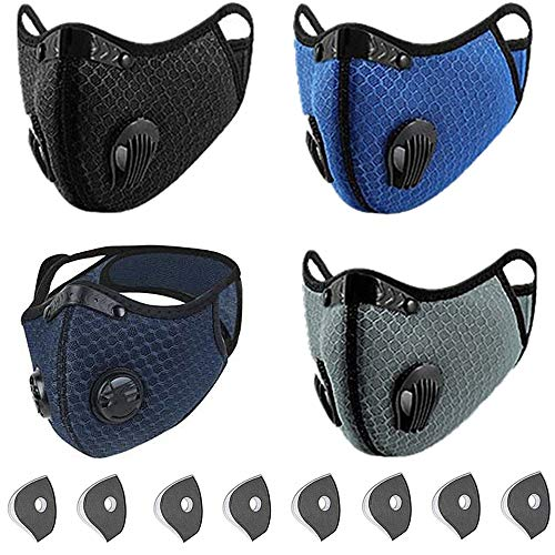 CONTINUE Sports_Dust_Mask_Filter_Reusable_Activated Carbon_Breathing Valve_Outdoors Sports_Half Face Protection Mask_Light Weight Earloop Anti Smoke for Men and Women 4 Packs