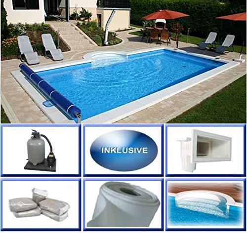 Summer Fun Styropor Schwimmbecken Set EPS40 rechteckig inkl. Sandfilteranlage Lissabon 600 x 300 x 150 cm Römertreppe