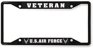 Sign Destination Metal License Plate Frame Veteran U.S. Air Force A Car Auto Tag Holder Black 4 Holes Set of 2