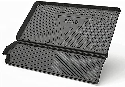 LZYYDS Voiture Tapis De Coffre pour Peugeot 5008 2017-2021,Voiture Caoutchouc Coffre Bac Tapis,Coffre AntidéRapant ImperméAble Protection Tapis,Voiture IntéRieur Accessoires