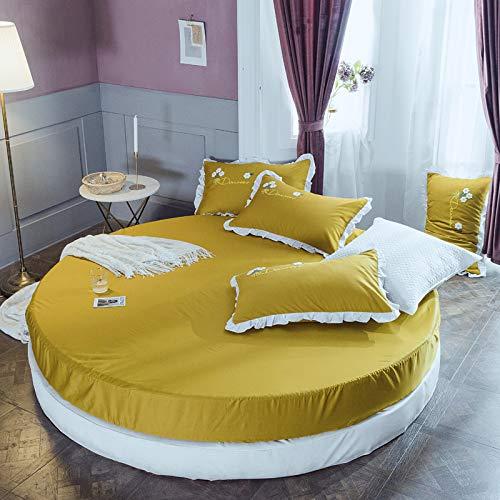 Falda de Cama de algodón, Cama Redonda, sábana, Funda Protectora de colchón, sábana de algodón Redonda, 2,0 Metros, 2,2 Metros, Ropa de Cama de jardín Jengibre 2,0 m de diámetro