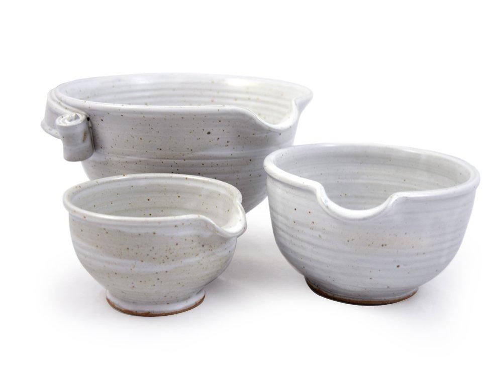 White Glazed Stoneware Set of 3 Small Nesting Bowls