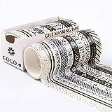 Juego de 10 rollos de cinta Washi japonesa de 8 mm de grosor, cinta decorativa de papel dorado, cinta adhesiva decorativa de Washi para álbumes de recortes, revistas festivales de regalo