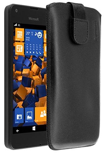 mumbi Echt Ledertasche kompatibel mit Microsoft Lumia 550 Hülle Leder Tasche Case Wallet, schwarz