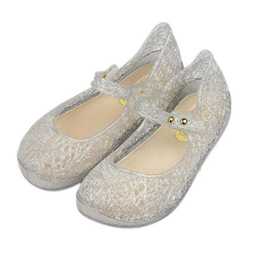 iFANS Girls Princess Jelly Sandals Mary Jane Bird Nest Layered Lines Flat Silver, 6 Narrow Little Kid