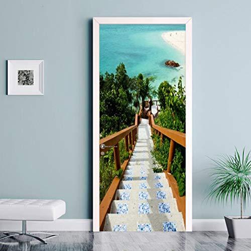 MNJKH Door stickers door decals,Self Adhesive Waterproof Door Sticker Aegean Sea Stairs Photo Wallpaper Living Room Bedroom Home Decor Wall Paper For 3 D