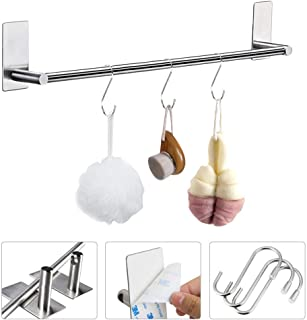 BUZIFU Towel Rails 3M Self Adhesive Towel Holder Stainless Steel Towel Hanger Stick on Towel Rack Wall Mounted with 3 hooks for Kitchen Bathrooms, 40 cm / 15.75 in, Water Rust Proof, Heavy Duty
