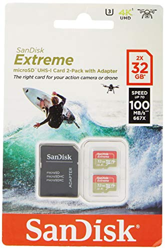 SanDisk Extreme 32 GB microSDhC Memory Card for Action Cameras and Drones with A1 App Performance up to 100 MB/s, Class 10, U3, V30 - Twin Pack