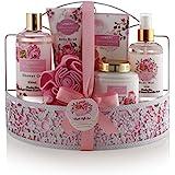 Home Spa Gift Basket - Wild Rose & Raspberry Leaf Scent - Luxurious 7 Piece Bath & Body Set For Men/Women, Contains Shower Gel, Body Lotion, Body Scrub, Bath Salt, Body Mist, Bath Puff & Shower Caddy