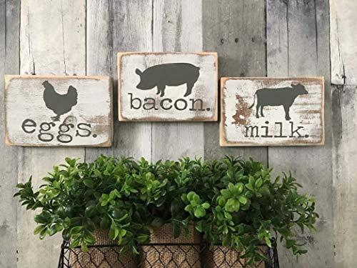 FARMHOUSE KITCHEN SIGNS, EGGS BACON MILK. RUSTIC KITHCEN DECOR, FARMHOUSE KITCHEN