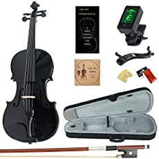 Amdini 1/2 AC100 Solid Wood Violin with Tuner, Manual, Case, Bow, Shoulder Rest and Extra Bridge & Strings (Black)