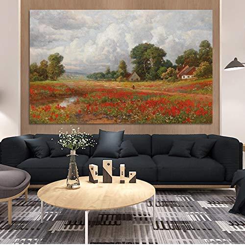 wZUN Campo de Amapolas Clásico Pintura Famosa Paisaje Póster Mural sobre Lienzo 50x80cm