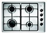 Teka - Placa de Gas natural con 4 quemadores y parrillas esmaltadas, acero inoxidable, 3.5 x 60 x 43.5 cm