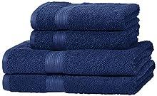 Amazon Basics - Juego de toallas (2 toallas de baño y 2 toallas de manos), 100% algodón 500 g / m², Azul (Royal Blue)
