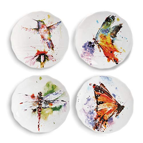 DEMDACO Dean Crouser Nature Hummingbird Butterfly Dragonfly Watercolor 6 x 6 Ceramic Stoneware Decorative Appetizer Plates Set of 4