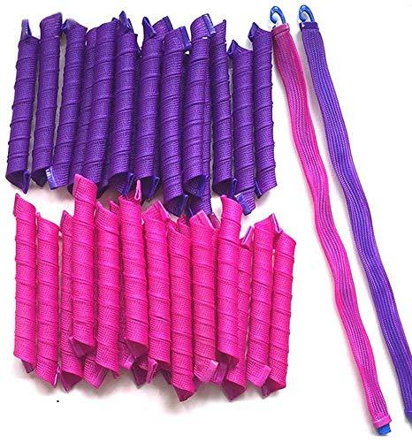Magica da Bigodini,Ricci a spirale senza calore,Strumento per styling dei capelli,Capelli fino a 55cm,40 pezzi + 2 uncini,Rose red vs deep purple