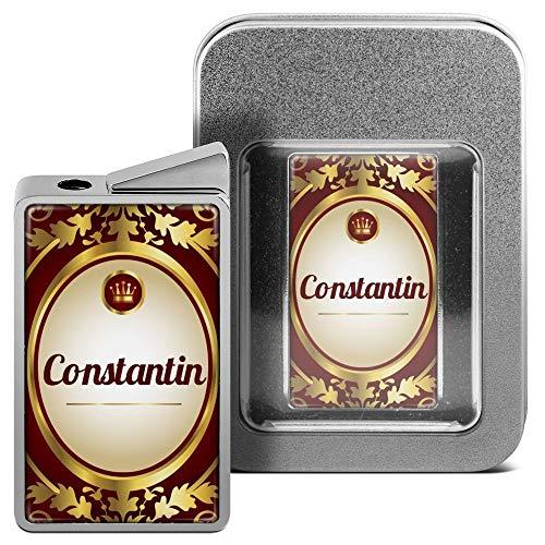 printplanet Feuerzeug mit Namen Constantin - personalisiertes Gasfeuerzeug mit Design Ornamente - inkl. Metall-Geschenk-Box