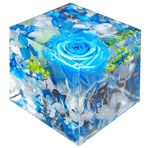 ハーバリウム 固める 固まる クリスタルハーバリウム ブルー フラワーセット ギフト フラワーキューブ プリザーブドフラワー 枯れない 誕生日 母の日 母の日プレゼント 花 記念日 プレゼント