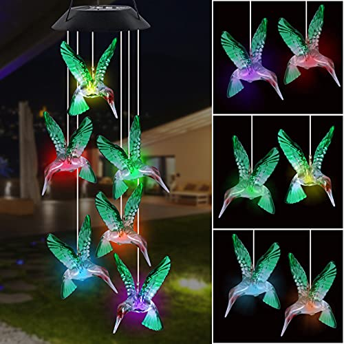 Aoutrow Solar Hummingbird Wind Chime, LED Automatic Light Changing Color, Mobile Hanging Hummingbird Wind Chime for Home Garden Yard Patio Decoration, Green