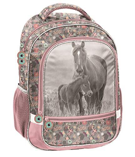 Pferde Fan Rucksack Kinderrucksack für Jungen und Mädchen mit Zwei großen Fächern und seitlichen Getränkenetzn, 40 x 30 x 16 cm, Rose/grau