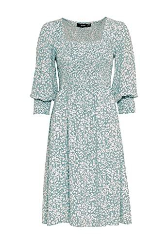 HALLHUBER Smok-Kleid aus Lenzing™-EcoVero™ mit Millefleurs-Print ausgestellter Schnitt Aqua, 38