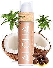 COCOSOLIS Aloha bruiningsversneller met vitamine E, cacaoboter, bruiningscrème en bodylotion cacao, biologische bruiningsolie met 6 kostbare oliën, 110 ml