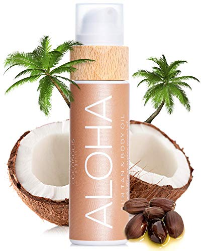 COCOSOLIS ALOHA Sun Tan & Body Oil | Organic Tanning Bed Lotion | Get Healthy Deep Chocolate Tan | Tanning Accelerator with 5 Precious Oils to Make Your Skin Glowing & Revitalized (110 ml)