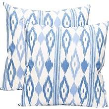 TRESMESTRES Fundas de Cojines 45x45 - Decoración Ikat - Decorativos para Sofá, Almohadas/Almohadones para Cama - Diseño Mediterráneo - Funda Cojín 45 x 45 cm, 2 Pack, Azul Cielo