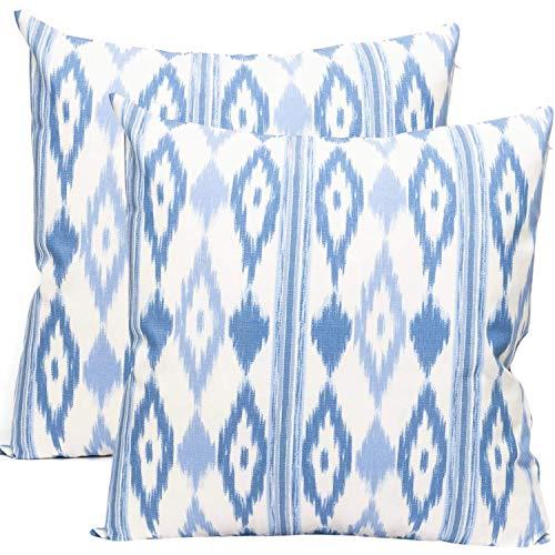 TRESMESTRES Fundas de Cojines 60x60 - Decoración Ikat - Decorativos para Sofá o Almohadas/Almohadones para Cama - Grandes - Diseño Mediterráneo - Funda Cojín 60 x 60 cm, 2 Pack, Azul Cielo