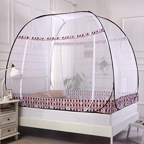 Zeem Draagbaar oppoppen klamboe tent met drie deuren opvouwbaar voor bed thuis op reis camping gebruik overkapping gordijn anti-muggensteken, B, 180x200cm (71x79inch)