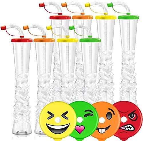 Emoji-Eisbecher für Margaritas, kalte Getränke, gefrorene Getränke, Kinderpartys, 500 ml, BPA-frei und rissfest (sortiert/zufällige Emojis)