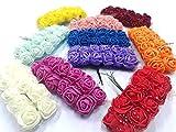 120 fiori in schiuma, 10 colori, con manico in spugna, per matrimonio, feste, DEK91
