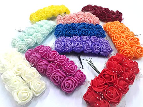 84 Stück Schaum Foam Blumen, 7 Farben, Schaumrosen mit Stiel Foamrosen Brautstrauß Rosenstrauß für Hochzeit Party Feier DEK91