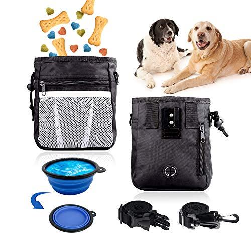 Happylohas Bolsa de Entrenamiento para Perros, Bolsa premios Perro, Perros Accesorios, con Bebedero Plegable Perro/cinturón Ajustable, para adiestramiento de Perros y Paseos (Negro)