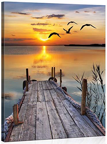 WISKALON Malen nach Zahlen DIY Ölgemälde Kits für Anfänger 40 cm x 50 cm Malen nach Zahlen für Erwachsene - Sonnenuntergang (Holzrahmen)
