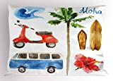 Lunarable Hawaiian Pillow Sham, Old School Moped and Hippie Van with Watercolor Style Surf Board Tropical Design, Decorative Standard Size Printed Pillowcase, 26' X 20', Green Red
