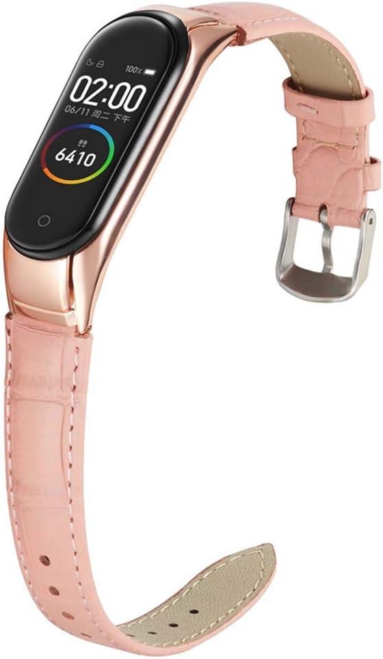 Miimall Pulsera de Reloj Compatible con Xiaomi Mi Band 5, Cuero Premium con Marco Metal Correa de Respuesto de Reloj para Xiaomi Mi Band 5 - Color Rosa