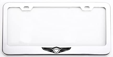 Deselen Stainless Steel License Plate Frame for Genesis with Screw Caps Cover Set, Genesis Logo,Silvery White/Chrome (2 Pieces Front/Back) LP-GE01WP