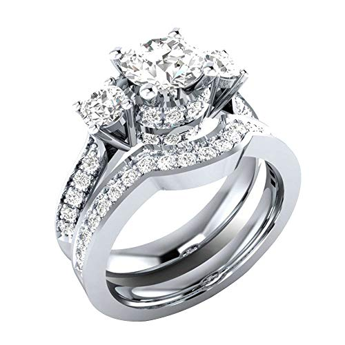 Women Titanium Engagement Ring Cubic Zirconia Eternity Wedding Band, Gift for Women Girls