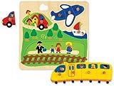 Jumbo Spiele 18029 - Puzzle Infantil de Madera (10 Piezas), diseño del tráfico