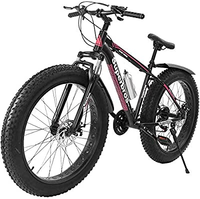 FITORON Fat Tire Mountain Bikes Men Women 17-Inch/Medium High-Tensile Aluminum Frame, 21-Speed, 26-inch Wheels Outdoor Bicycle Aluminum Frame, up to 200KG (Red)