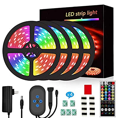 Segrass Music Sync Led Strip Lights 65.6ft,RGB Led Lights Color Changing with 16 Colors 8 Modes LED Light Strips Kit with Remote Luces led para decoracion Wall Lights for Bedroom,Party,Decorative