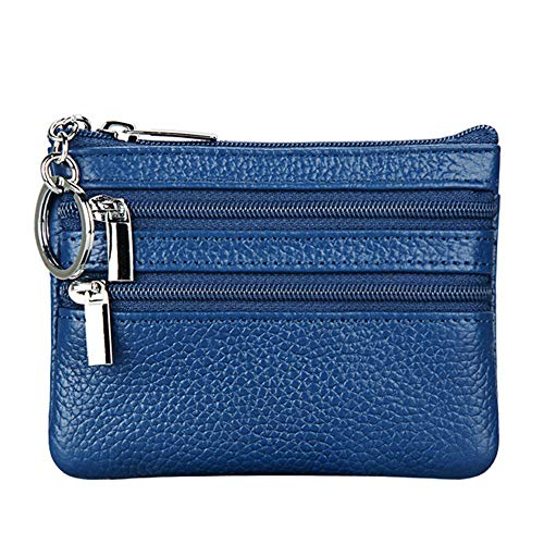 Women's Genuine Leather Coin Purse Mini Pouch Change Wallet with Keychain ,blue