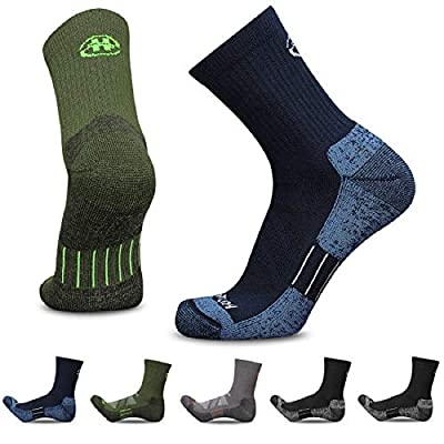 Heatuff Mens and Womens 3 & 5 Pack Hiking Micro Crew Socks Athletic Cushion Outdoor Trekking Sock Reinforced Heel and Toe